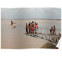 Jumping in the Mekong river  Poster