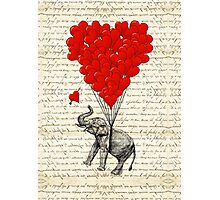 Elephant and love heart Photographic Print