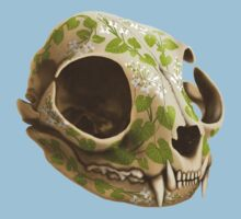 cat skull painted with wasabi flowers Kids Clothes