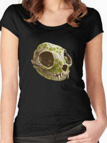 cat skull decorated with wasabi flowers Women's Fitted Scoop T-Shirt