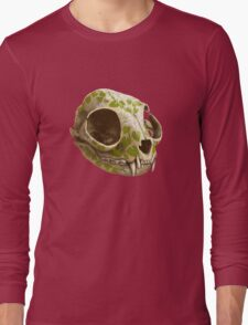 cat skull decorated with wasabi flowers Long Sleeve T-Shirt