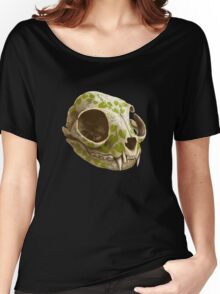 cat skull decorated with wasabi flowers Women's Relaxed Fit T-Shirt