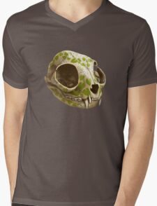 cat skull decorated with wasabi flowers Mens V-Neck T-Shirt