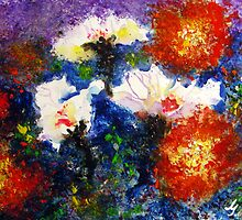 Watercolor painting - Orchids and Peonies by gilbertlamm