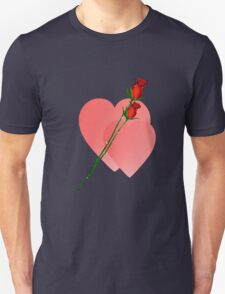 Two Roses  Two Hearts Unisex T-Shirt