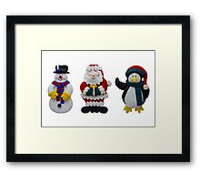 Christmas Snowman Santa and Penguin Framed Print