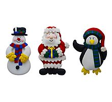 Christmas Snowman Santa and Penguin Photographic Print