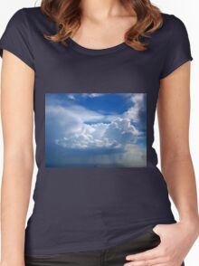 Stormy sky with clouds Women's Fitted Scoop T-Shirt