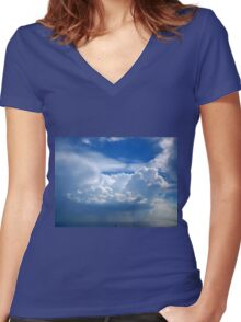 Stormy sky with clouds Women's Fitted V-Neck T-Shirt