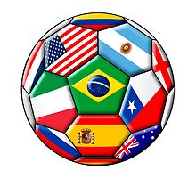Brazil 2014 - soccer with various flags by siloto