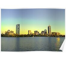 Boston Skyline from Cambridge at dusk in hdr Poster