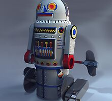 Retro Toy Robot Number 7 by mdkgraphics