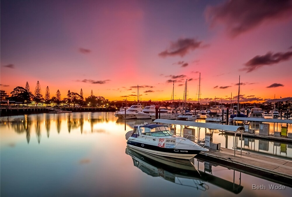 Sunset on Raby - Cleveland Qld Australia by Beth  Wode