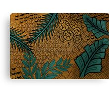 Zentangle Gold and Green Canvas Print