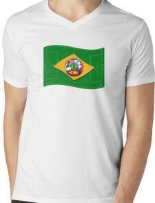 football field looks like Brazil flag with ball Mens V-Neck T-Shirt