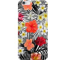 Red orange black palm tree tropical flowers iPhone Case/Skin