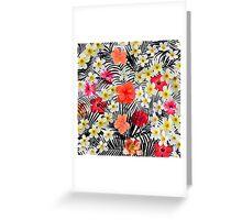 Red orange black palm tree tropical flowers Greeting Card