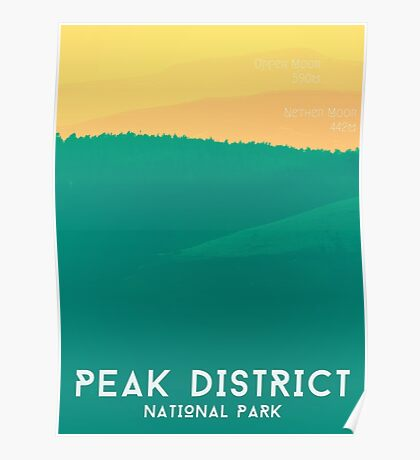 Peak District - Rolling Hills Graphic Art Print Poster