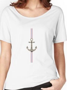 Trendy red blue black nautical jute anchor stripes Women's Relaxed Fit T-Shirt