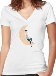 Ze Croissant Moon Women's Fitted V-Neck T-Shirt