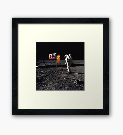 Super Mario On the Moon Framed Print
