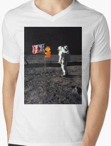 Super Mario On the Moon Mens V-Neck T-Shirt
