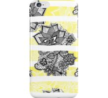Modern black white floral lace bright yellow floor iPhone Case/Skin
