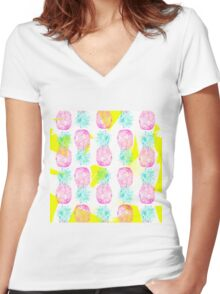 Tropical pink mint green yellow pineapples pattern Women's Fitted V-Neck T-Shirt