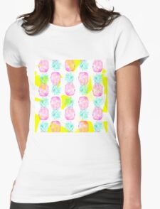 Tropical pink mint green yellow pineapples pattern Womens Fitted T-Shirt