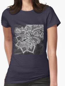 White hand drawn floral lace black chalkboard  Womens Fitted T-Shirt