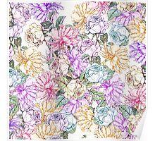 Vintage colorful pink purple orange floral pattern Poster