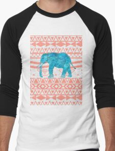 Whimsical Teal Paisley Elephant Pink Aztec Pattern Men's Baseball ¾ T-Shirt