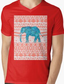 Whimsical Teal Paisley Elephant Pink Aztec Pattern Mens V-Neck T-Shirt