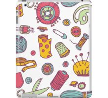 Sewing and needlework doodle pattern iPad Case/Skin