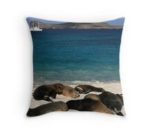 Beached Sea Lions Throw Pillow