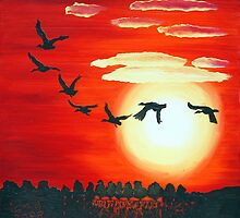Geese over Colwick Waters by Ian Charles Douglas