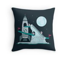 Penguin Space Race Throw Pillow