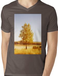 Single birch tree Mens V-Neck T-Shirt