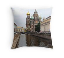 St Petersburg Canal Throw Pillow