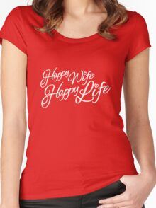 Happy wife happy life typographic Women's Fitted Scoop T-Shirt
