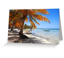 Caribbean beach with boat Greeting Card