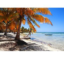 Caribbean beach with boat Photographic Print