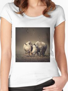 Two Rhinoceros with birds Women's Fitted Scoop T-Shirt