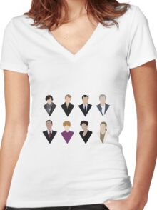 Sherlock and 'Friends' Women's Fitted V-Neck T-Shirt
