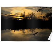 Flatford Mill Sunset Poster