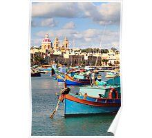 Fishing boats of Malta Poster