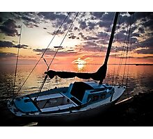 Florida Sailboat Sunset with a Paint Application Photographic Print