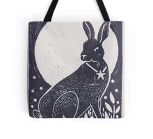 Hare and Moon Lino Print Tote Bag