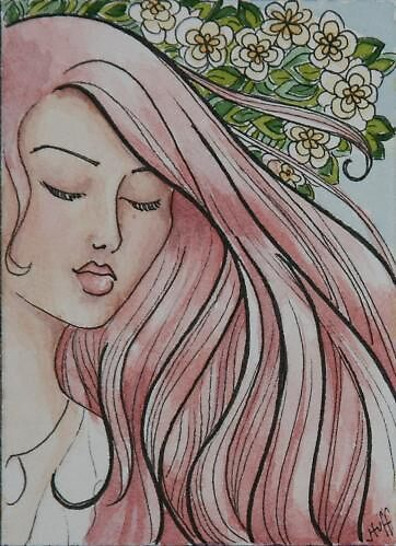 """ACEO Watercolor painting """"Gracie"""" by Jaymilina"""