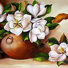 Magnolias in a Clay Pot by Dominica Alcantara